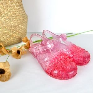 Girls jelly shoes size 11 pink glitter sandals